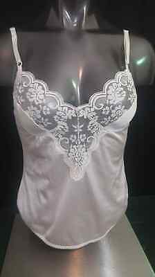 Chantilly Maidenform vtg cami camisole top sheer beige lace union label nylon 34