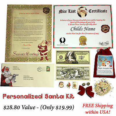 Personalized Letter From Santa, Nice Certificate, Reindeer Food, Real Santa Bill