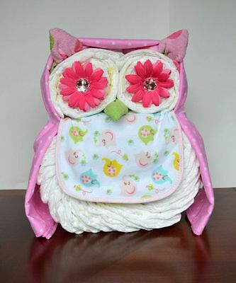 Owl Diaper Cake Boys Girls Unisex baby shower centerpiece welcome baby gift