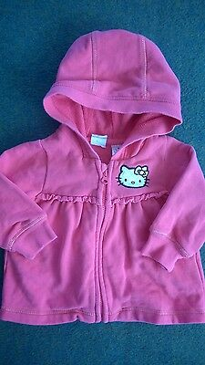 h&m hello  kitty hot pink baby girls hooded coat age 4-6 months mint condition