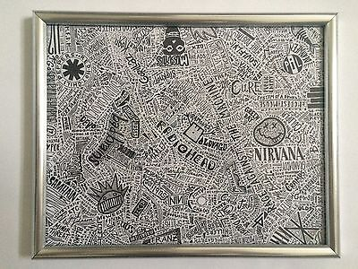 "Punk Bands 20""x16"" Abstract Fusion Artwork: Ramones, Arctic Monkeys, 311..."