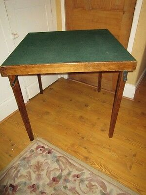 Vintage Folding Green Baize Topped Card Table