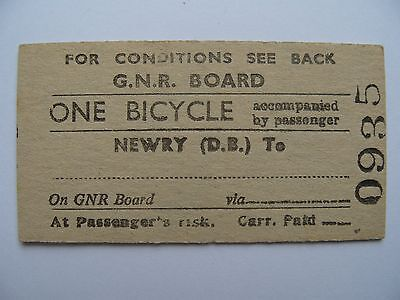 BICYCLE Ticket Great Northern Railway Ireland GNR I  Newry (D.B.) - .