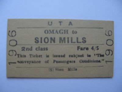 UTA Ulster Transport Authority Railway Ticket OMAGH - SION MILLS