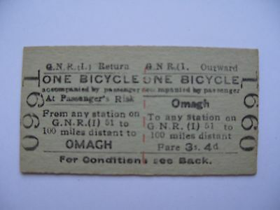 GNRI Great Northern Railway Ireland Ticket OMAGH - ONE BICYCLE
