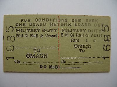MILITARY on DUTY Ticket Great Northern Railway Ireland GNR I Omagh