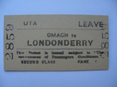 UTA Ulster Transport Authority Railway Ticket OMAGH - LONDONDERRY   LEAVE