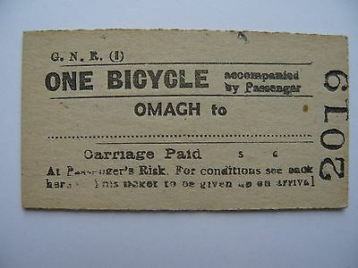 BICYCLE Ticket Great Northern Railway Ireland GNR I  Omagh - .