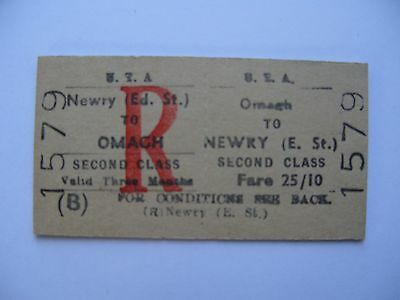 UTA Ulster Transport Authority Railway Ticket OMAGH - NEWRY (E. St.)