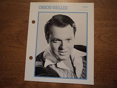 Orson Wells Atlas Movie Star BIOGRAPHY PHOTO CARD pin up hollywood