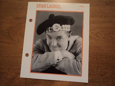 Stan Laurel Atlas Movie Star BIOGRAPHY PHOTO CARD pin up hollywood