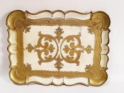 Vintage Florentine Hand Carved and Gilded Wooden Tray 14x10