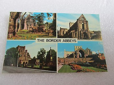 POSTCARD UNUSED THE BORDER ABBEYS by Colourmaster  Dryburgh Jedburgh Melrose