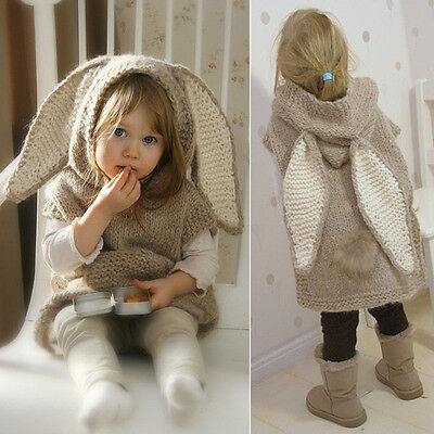 Cute Kids Baby Winter Spring Hooded Sweater Knit Outwear With Big Rabbit Ear Hat