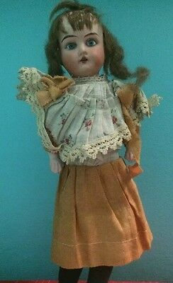 Antique Lilly 12/0 Germany Doll Blue Eyes Brown Hair 12inches