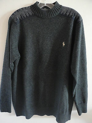 Mens Charcoal L/S Jumper with Pattern on Shoulder sz.S