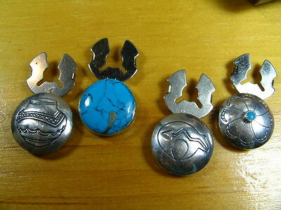 Vintage Sterling Silver Turquoise Southwestern Snap on Button Covers Set of 4
