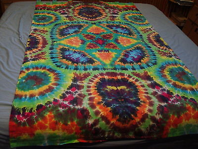 Hand-dyed Tie Dye Wallhang Tapestry - Eight Point Combo Lotus Mandala W/ Loops