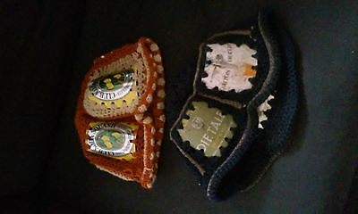 Hand made beer tin knitted hats x2