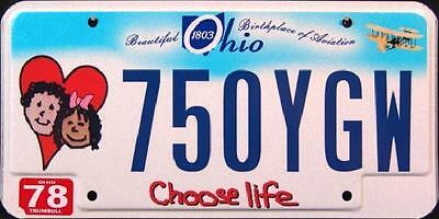 """OHIO """" CHOOSE LIFE """" BIRTHPLACE OF AVIATION Graphic License Plate FREE US SHIP"""
