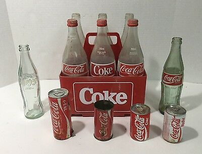 12 Vintage Coca Cola Bottles & Cans Non-USA - France - Egypt - Holland w/Carrier