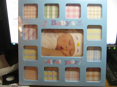 baby's first year picture frame-blue