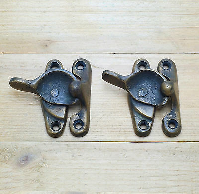 Lot of 2 pcs Vintage Old Country Western LATCH HOOK Solid BRASS Joint Lock Gate