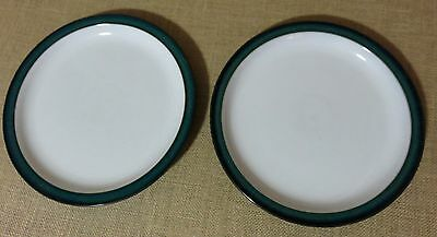 Denby Greenwich Dinner Plates White Green Set of Two