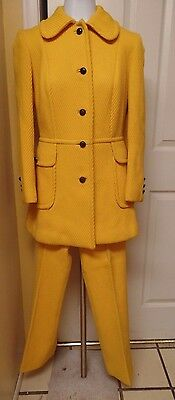 Vintage 60S-70S Coutour Womens Pant Suit Yellow Wool Lined