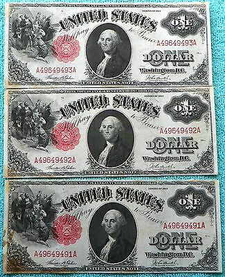 1917 (3) Consecutive AA Block $1 US Notes Red Seal Sequential