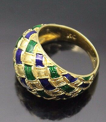 Italy Gorgeous Dark Blue Green Enamel Inlay Woven Solid 18K Gold Dome Ring 4.75