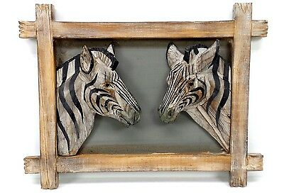 Two 3D Zebra Faces Wood Picture African Safari Animal Wall Hanging Home Decor