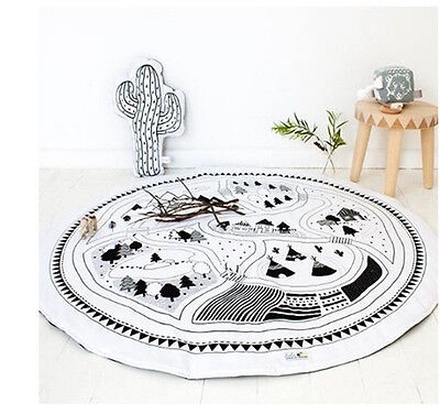 Soft Cotton Baby Kids Game Gym Activity Play Mat Crawling Blanket Floor Rug AC