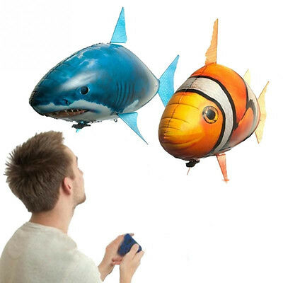 Air Swimmers Remote NEW RC Remote Control Flying CLOWNFISH Shark Helium Toy Kids