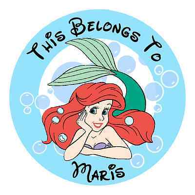 Personalized Ariel Little Mermaid Property Stickers for school books NAME LABELS