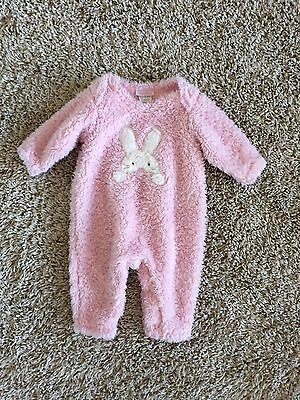 Cach Cach Baby Girls Boutique Bunny Rabbit Super Soft 1 Piece Romper Outfit 6 Mo