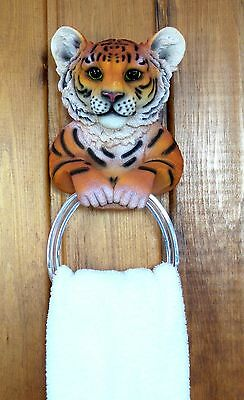 Bengal Tiger Towel Holder Wild Cat Collectible Home Decor