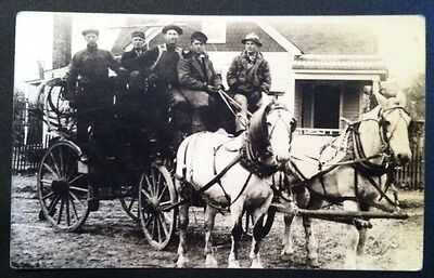 1904-18 Young Men In Horse Drawn Wagon RPPC Real Photo Postcard Z4