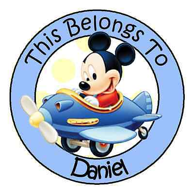 24 PERSONALIZED Baby Mickey Property Stickers school books Name TAGS Labels