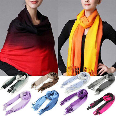 Women Long Pashmina Stole Gradient Scarves Color Wool Scarf Shawl Wrap Tassels