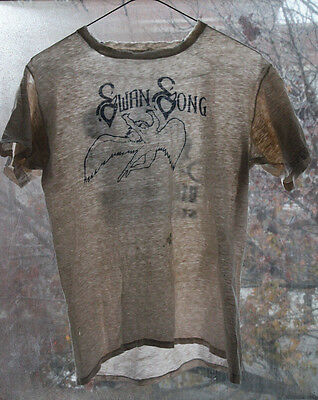 Vintage Women's Led Zeppelin Swan Song T Shirt Size S Bike-A-Thon WORN HOLES