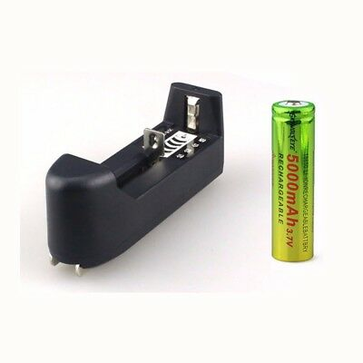 2x 3.7V 18650 5000mAh Li-ion Rechargeable Battery + Charger For Flashlight Torch