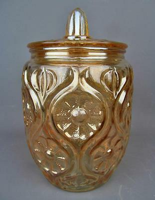 FOREIGN CARNIVAL GLASS - DAVIDSONS ILLINOIS DAISY Marigold Bisquit Jar - ENGLAND