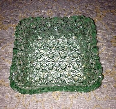 Daisy and Button Green Vaseline Glass Berry Bowl Square