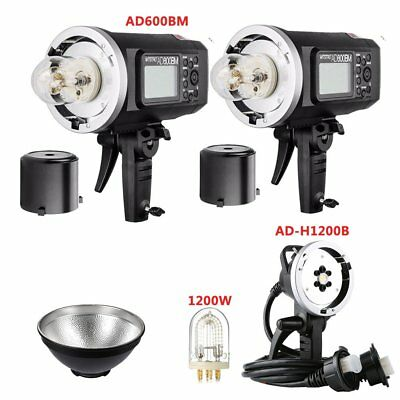 2X Godox AD600BM 1200W Flash Strobe + AD-H1200B Flash Head + AD-R6 Reflector