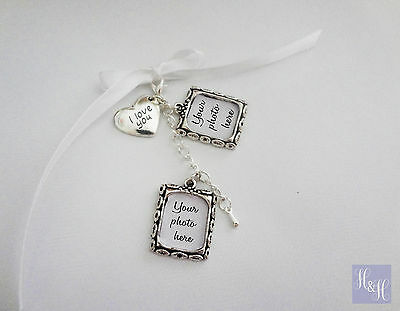 Double Wedding Bouquet Photo Memory Charm Wedding Bouquet with I love you charm