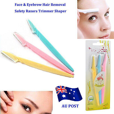 3X Women's Face & Eyebrow Hair Removal Safety Razors Trimmer Shaper Cosmetics BO