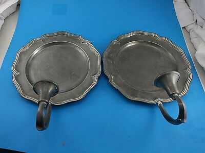 2 vintage Pewter French Country Sconces Candle Holders CCC Colonial Casting Co.
