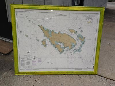 Large Framed Nautical Chart Of La Isla De Culebra Puerto Rico In Painted Frame