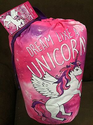 "Justice Girls Sleeping Bag ""dream Like A Unicorn"" With Drawstring Backpack ""new"